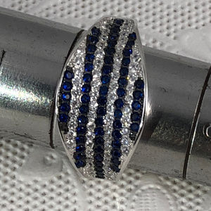 1CT Blue Sapphire & Topaz Pave Set 925 Silver Ring